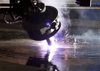 Bevel plasma cutting under water